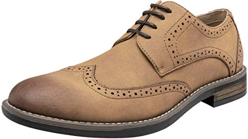 VOSTEY Men's Oxford Suede Dress Shoe Wingtip Brogue Casual Derby Dress Shoes for Men (12,Brown)