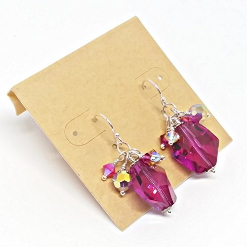 Fuchsia Purple Crystal Earrings, Made with Swarovski Crystal, Crystal Cluster Earrings, Sterling Silver Dangles, Glittering Orchid Earrings