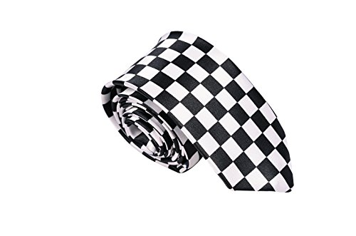 MATCH MUCH Skinny Neckties Novelty Ties(Check Board)]()