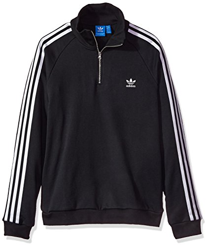 adidas Originals Women's Outerwear | Half Zip Sweatshirt, Black, Large (Adidas Terry Pullover)