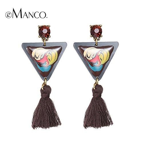 GemMart Jewelry enamel geometric dangle earrings for women hand painted resin tassel triangle drop earring boucle d'oreille pendante