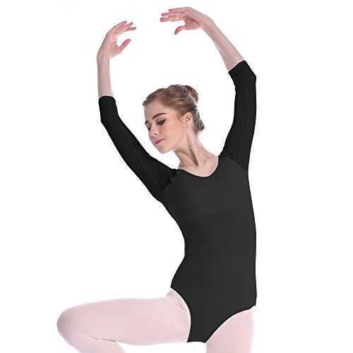 Mesh Bodysuit for Women Ballet Dance Leotards 3/4 Sleeve Dancewear