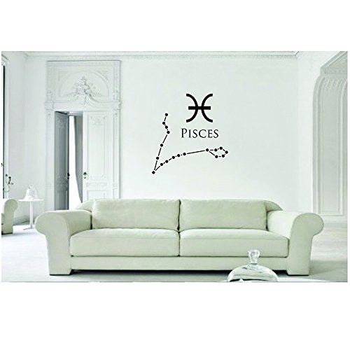 Pisces Constellation Vinyl Decal Wall, Car, Laptop - Baby Blue - 10 inch