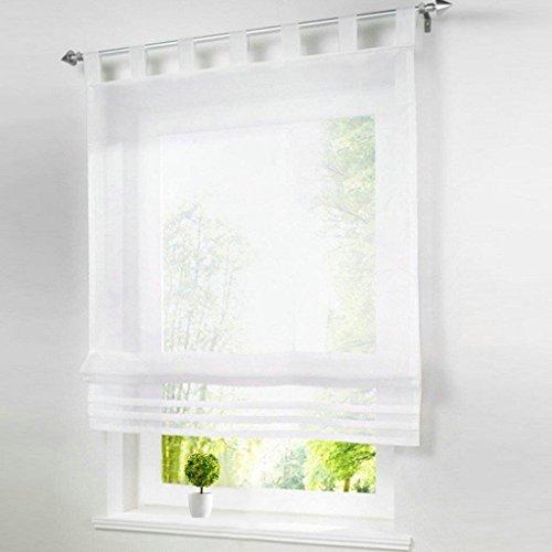 86 York Roman Shades Rod Pocket Sheer Balcony Window Curtain Voile Valance Drape Drapery for House Decorative 1 Panel (Semi Sheer Tie Up Shade)