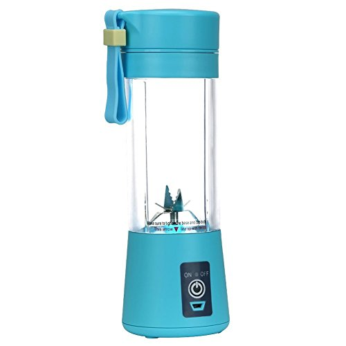 2018 [Upgraded Version] Portable Juicer Cup Personal Size Eletric Rechargeable Mixer USB Juice Blender 380ml 6 Blades in 3D for Superb mixing for Traveling Working Outdoors (blue) (Rechargeable Portable Blender)