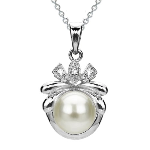 Sterling Silver Illusion 9-9.5mm White Button Shape Freshwater Cultured Pearl Pendant Necklace, 18