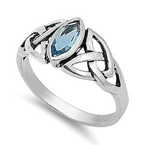 9mm Sterling Silver BLUE Simulated AQUAMARINE MARQUIS OVAL CELTIC KNOT Ring 5-10 ()