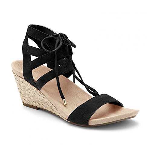 Tansy Wedge Black Up Lace Suede Noble Vionic Women's PqWwBxUFR