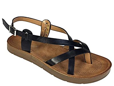 BAMBOO Women's Strappy Thong Footbed Sandal