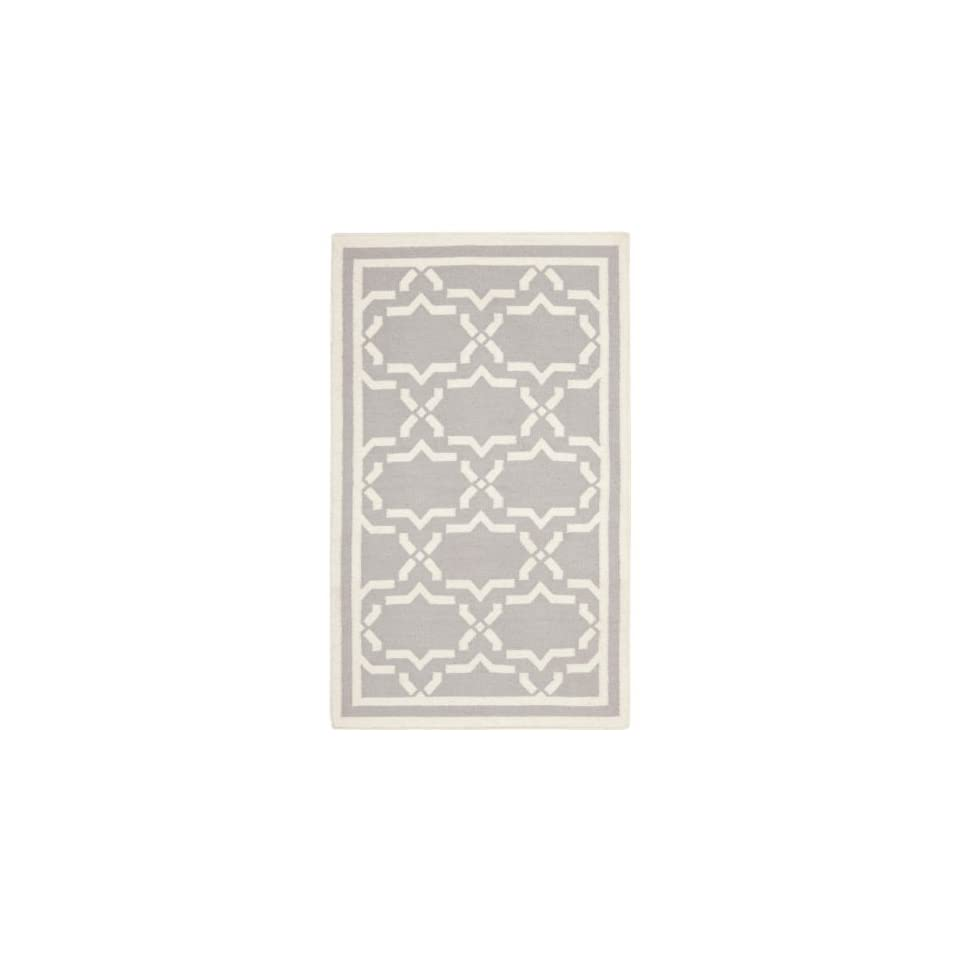 Safavieh Dhurries Collection DHU545G Hand Woven Grey and Ivory Premium Wool Area Rug (6 x 9)