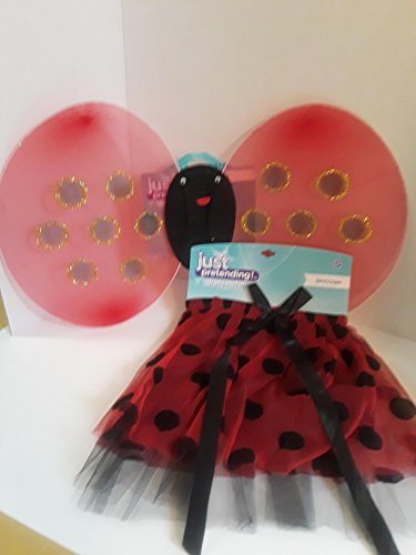 Costumes Girl Homemade Football (HALLOWEEN COSTUME JUST PRETEND LADY BUG WINGS WITH MATCHING SKIRT 2 PIECE SET LADY BUG RED WITH BLACK POLKA)