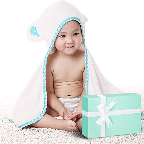 Organic Bamboo Hooded Baby Bath Towel, Baby Girl Boy Gift Bath Towels Antibacterial & Hypoallergenic Baby Bath Towel with Bear Ears - Thick, Warm, Soft Bath Robe for Newborns, Infants & Toddlers.