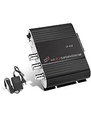 GHB Amplificatore Audio Stereo Auto Mini Amplificatore Auto e Casa 200W Dual-Use 2.1CH per Moto Scooter MP3 CD DVD con Alimentatore