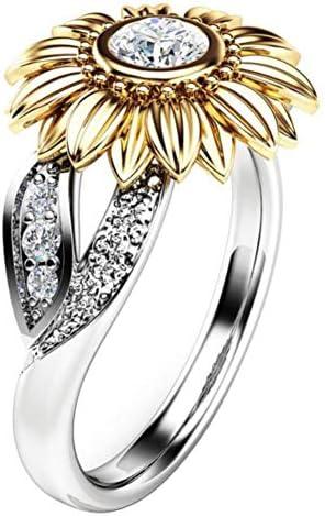 Ringgröße, Sonnenblumen-Design, lose Ringe, kompakt und tragbar, für Hochzeit und Festival, Geschenk, Legierung 5