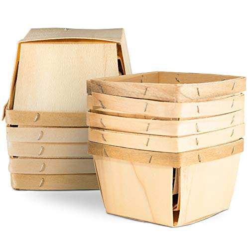 One Pint Wooden Berry Baskets (10 Pack); for Picking Fruit or Arts, Crafts and Decor; 4
