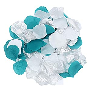 2NDTONONE 900Pcs Teal Silver White Silk Rose Petals Artificial Flower Petals for Wedding Party Table Confetti Aisle Runner Flower Girl Toss Bridal Shower Hotel Home Vase Decoration 93