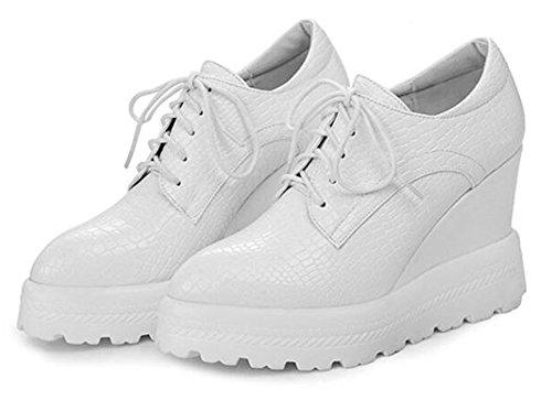 Easemax Womens Mode Spetsiga Toe Kil Klackar Sneakers Vit