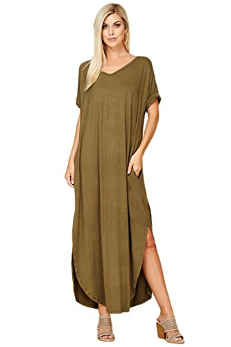 Dress Hem Band (Annabelle Women's Casual Short Sleeve Curved Hem Split Pocket Maxi Dresses with Pockets Large Olive D5210)