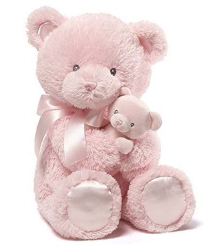 Cuddly Pink Teddy Bear - GUND Momma and Baby Teddy Bear Stuffed Animal Plush Rattle, Pink, 15