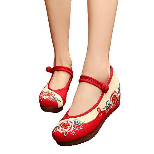 AvaCostume旧北京刺繍レディースプラットフォーム漢服ドレスシューズ