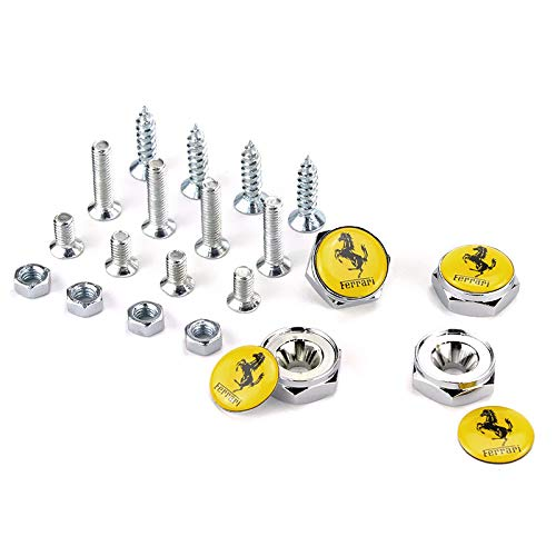 Zhmyyxgs 4Pcs Chrome Metal Car License Plate Frame Bolt Screws Rust Resistant Screws License Plate Covers & Frames Fasteners Accessories for (Ferrari)