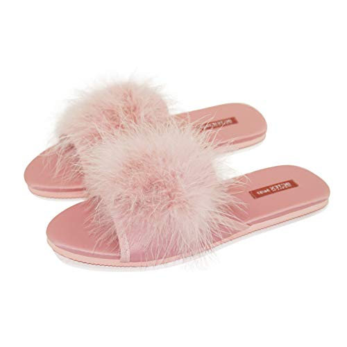 BCTEX COLL Women's Slipper, Open Toe Feather House Slippers Ladies Satin Pom Pom Flat with Cozy EVA Sole Non-Slip Slider Slippers - Ladies Satin Shoes