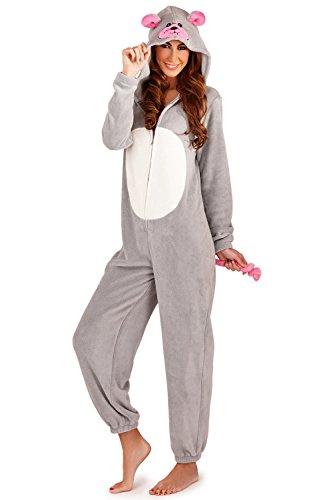 Pijama mono polar para mujer, longitud completa, con capucha Adultes - Souris argent/gris