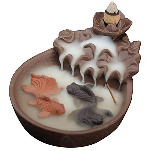 (Fishes Pond Incense Holder, Backflow Incense Burner Incense Stick Holder Handmade Ceramic Figurine Incense Cone Holders Home Decor Gift Decorations Statue Ornaments with 10 Incense Cones (Fishes) )