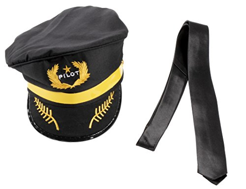 Pilot Hat with Tie - 2-Piece Pilot Costume Accessories for Halloween Dress-Up -