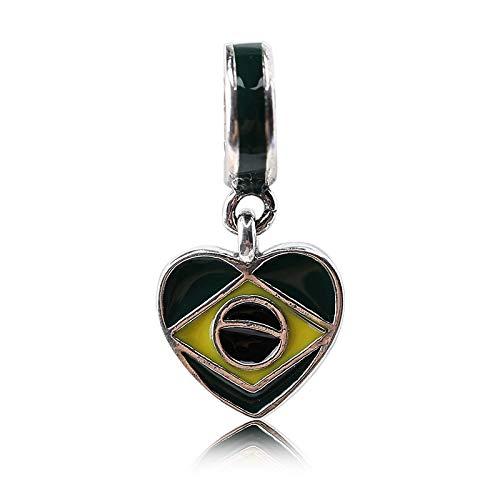 Calvas Real 925 Sterling Silver I Love Brazil Pendant Charm Heart Flag Beads Fit Original PAN Bracelet for Women Men berloque Jewelry