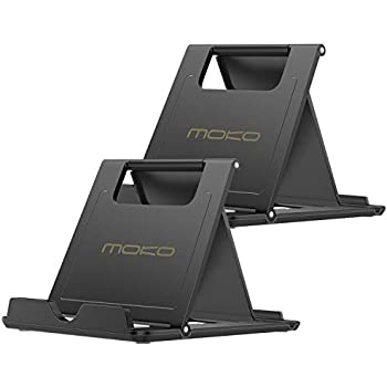 [2 Pack] MoKo Cellphone/Tablet Stand, Universal Foldable Multi-Angle Desktop Holder for iPhone Xs/XS Max/XR/X, Galaxy S9/S9 Plus, Compatible with iPad Pro ...