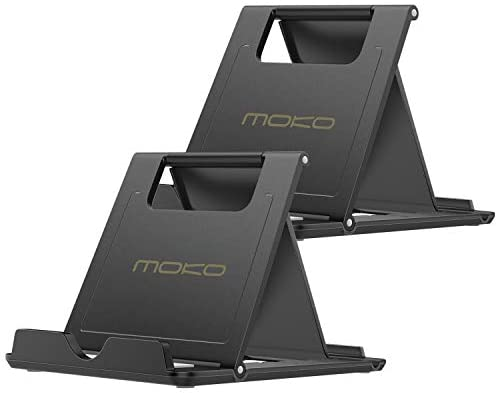 MoKo [2 Pack Phone/Tablet Stand, Foldable Desktop Holder for 4-11″ Devices, Fit iPhone 12 Pro Max/12 Mini, 11 Pro Max, iPad Pro 11/10.2 (8th Gen) /Air 3/Air 4 10.9/Mini 5, Galaxy S20, Black