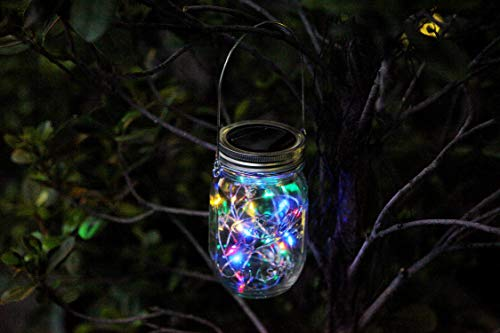 KZOBYD 8 Pack Solar Mason Jar Lid String Lights with 8 Handles,Fairy Starry Firefly Lights Kit Hanging for Outdoor Indoor Patio Wedding Decor(Jars Not Included)(8, Colorful 10LED) by KZOBYD (Image #3)