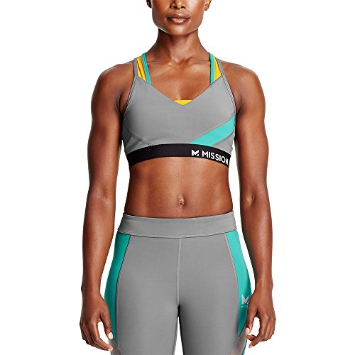 Mission Womens VaporActive Temper Racerback Medium Impact Sports Bra, Quiet Shade/Viridian Green/Gold Fusion, X-Large