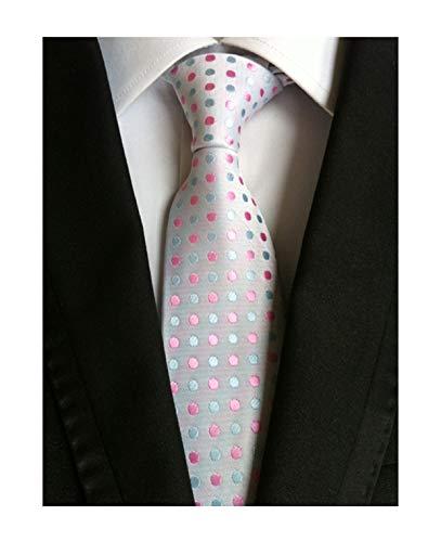 Men White Pink Dot Self Cravat Tie Silk Jacquard Woven Boy Novelty Funny Necktie