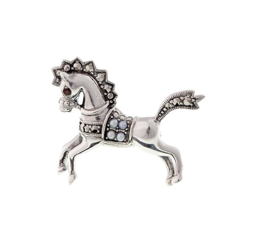 Marcasite And Pearl Pin (Carousel Horse Pin - 925 Sterling Silver Seed Pearl and Garnet Mini Horse Pin)