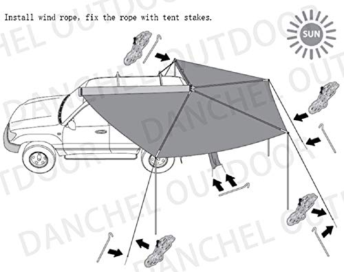 DANCHEL OUTDOOR 270 Degree Sector Shaped car Side foxwing Awning (Khaki, Dia. 8.2ft Left) by DANCHEL OUTDOOR (Image #9)