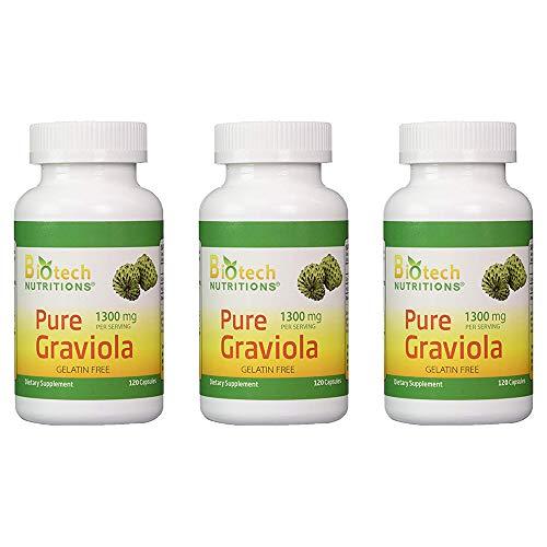 Biotech Nutritions - Graviola 100% Pure Graviola 1300mg Per Servings - 120 Capsules Per Bottle (Annona muricata) | -