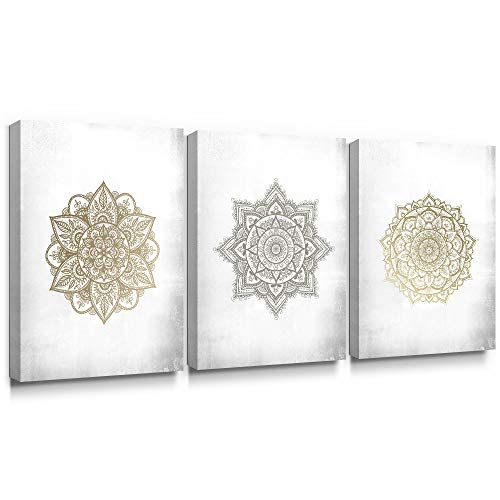 SUMGAR 3 Piece Wall Art Bedroom Boho Decor Gold Flower Canvas Paintings Mandala Pictures Indian Artwork Prints,12x16 inch