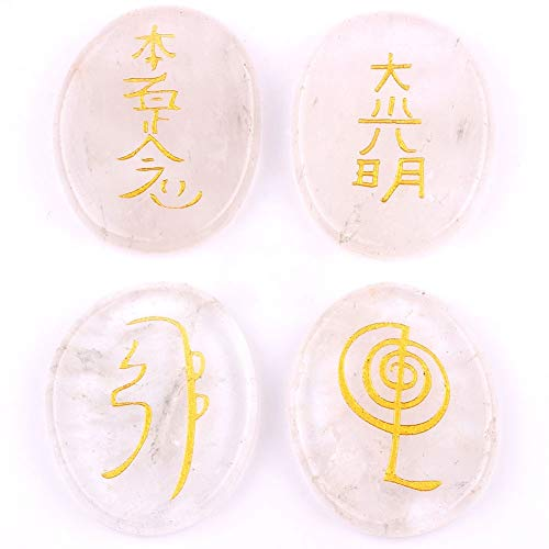 - Stones - Yaye 4pcs Natural Clear Quartz Crystal Engraved Chakra Stone Set With Reiki Symbols Healing Palm - Heal Grass Fossil Stoneware Blood Layer Yoga Jewelry Moonstone Necklace Star Rune Sy