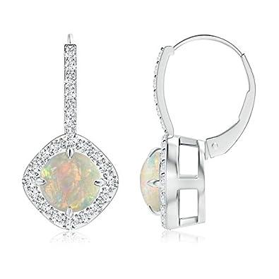 Angara Claw-Set Cabochon Opal and Diamond Cushion Halo Earrings y9Zw08D3