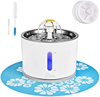 Cat Water Fountain Stainless Steel, 81oz/2.4L Intelligent Pump with LED Indicator for Water Shortage Alert, Pet Fountain...
