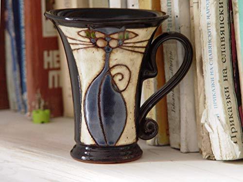Funny Mug, Handmade Cat Mug, Pottery Mug, Artistic Ceramic Mug, Wheel Thrown Clay Mug, Unique Mug, Handcrafted Mug, Hand Painted Mug