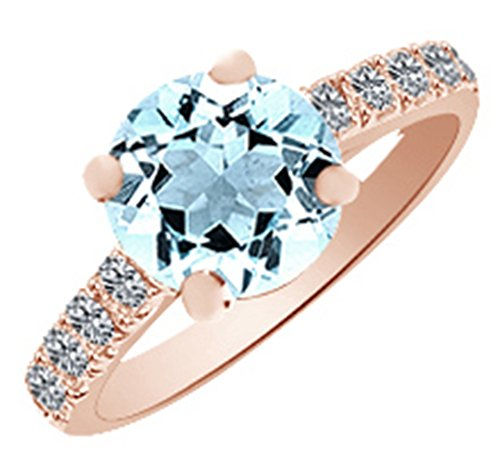(3.4ct) Simulated Blue Aquamarine & Round Cut White Diamond Engagement Ring In 14k Rose Gold With Ring Size 12.5 (3.4 Ct Round Diamond)