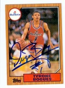 Muggsy Bogues autographed basketball card (Washington Bullets) 1993 Topps Archives ()