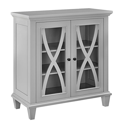 Accent Storage Cabinet with 2 Glass Doors - Contemporary Storage Organizer - Use as Buffet, Sideboard, Server or Living Room Cabinet - Can be TV Stand Media Entertainment Center, Console Table (Gray)
