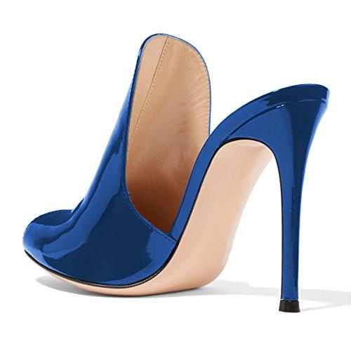 4 Blue Donne Dimensioni Alti Fsj Scarpe Sandali Lucida Su Scivolare 12 Mulattiere Scorrono Stiletto Pantofole Cm Noi 15 Tacchi xagOwad7