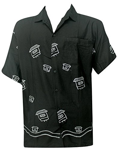 La Leela Aloha Hawaiian Tropical Smooth Rayon Father Cheap Solid plain male Short Sleeves Button Down Tropical Shirts Black Beach