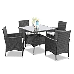 Garden and Outdoor Wisteria Lane Outdoor Furniture 5-Piece Wicker Patio Dining Table and Chair Set,Square Tempered Glass Table Top with… patio dining sets