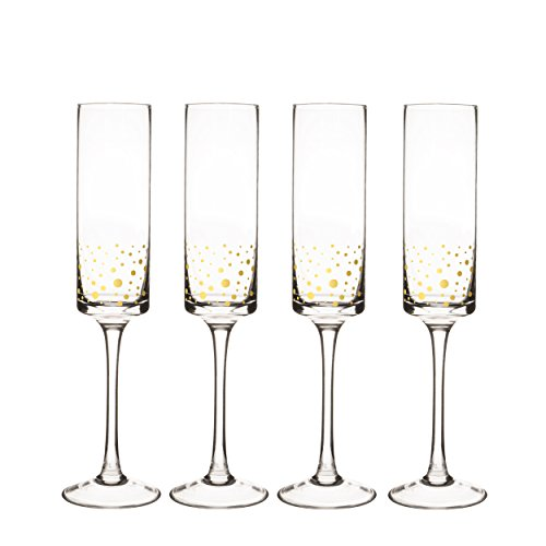 Cathy's Concepts GD3668-4 Personalized Gold Dot Contemporary Champagne Flutes (Set of 4), Clear